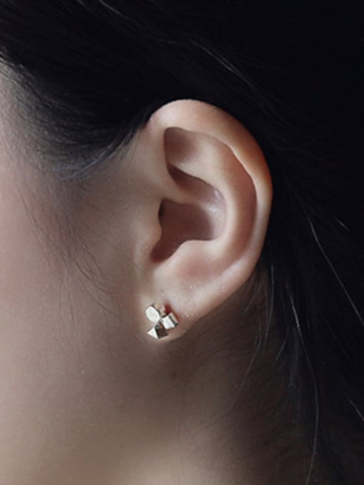 Arya Simple Tiny Geometric Shapes Stack Silver Stud Earrings