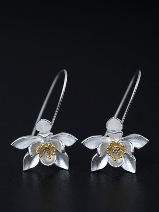 Christian Retro style Lotus Flower 925 Silver Elegant Earrings