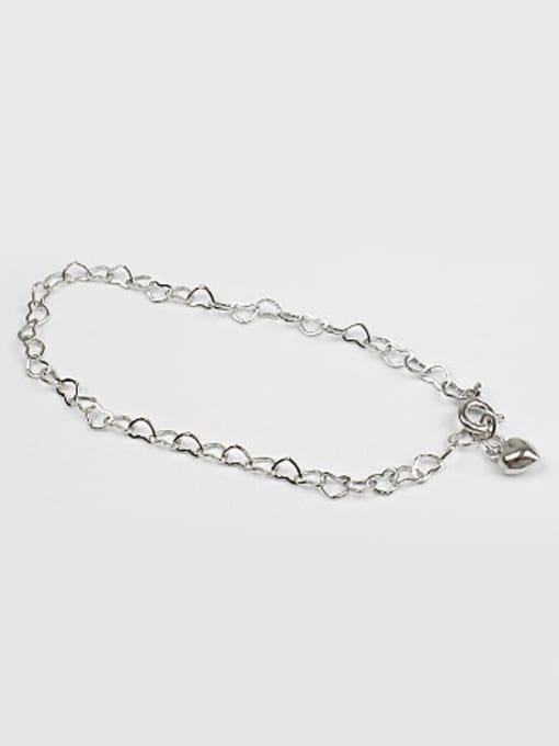 Arya Simple Hollow Little Hearts chain Silver Bracelet