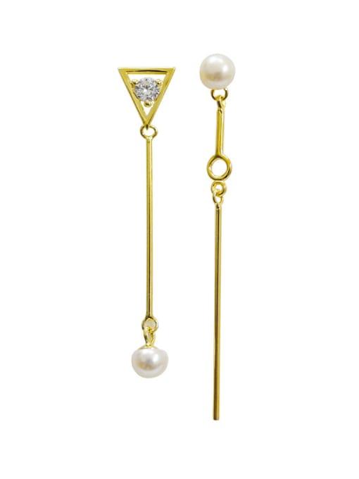 Arya Fashion White Freshwater Pearl Cubic Zircon Silver Stud Earrings