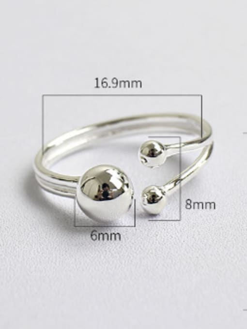 Arya Simple Smooth Beads Silver Opening Ring