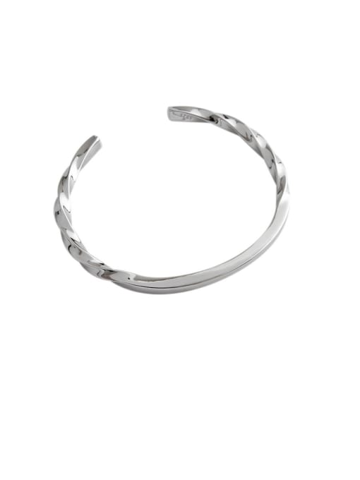 Dark Phoenix 925 Sterling Silver With Platinum Plated Simplistic Twist Opening Bangles