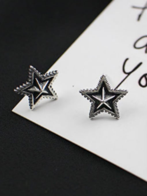 Arya Retro style Black Star Silver Stud Earrings
