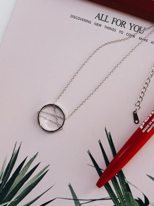 Jolie Silver 925 Sterling Silver With Platinum Plated Trendy Round Necklaces