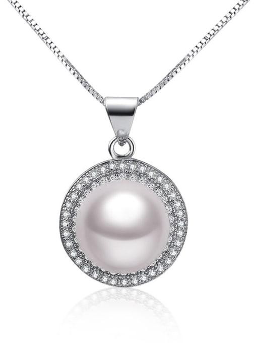 Evita Peroni Freshwater Pearl Zircon Round Necklace