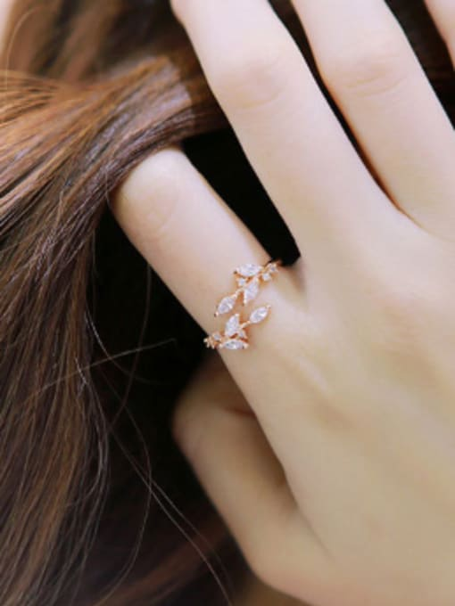 Arya Fashion Little Leaves Marquise Zircon Silver Opening Ring