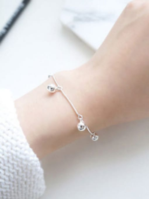 Arya Simple Little Smooth Beads Silver Women Bracelet