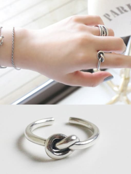 Ying 925 Sterling Silver With Antique Silver Plated Vintage knot Free Size Rings