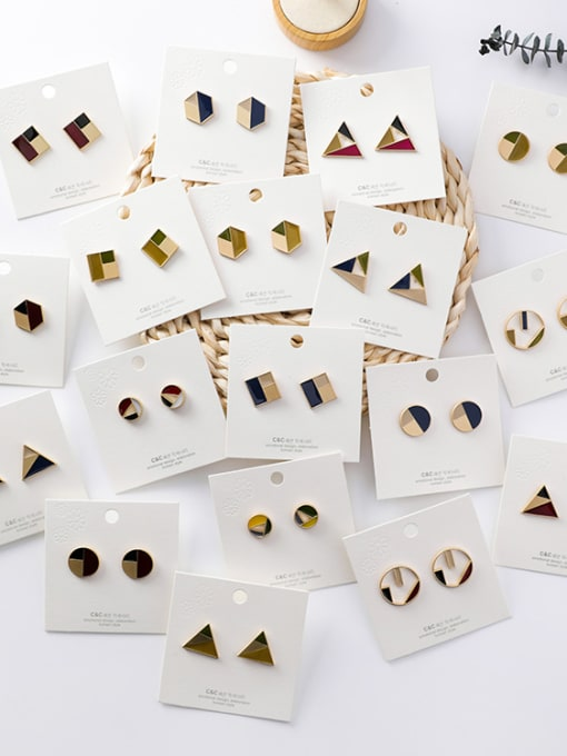 Girlhood Alloy With Gold Plated Trendy Geometric Stud Earrings