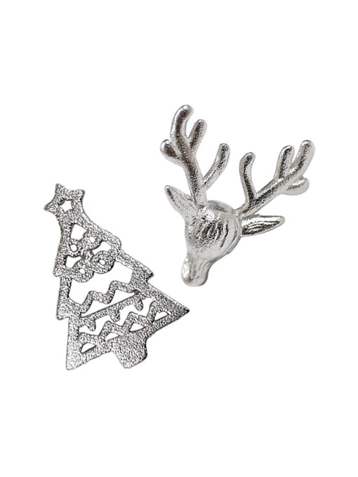 Arya Personalized Christmas Tree Little Deer Silver Stud Earrings