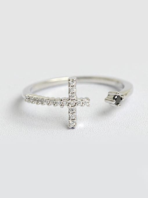Arya Simple Cubic Zircon-covered Cross Opening Silver Ring