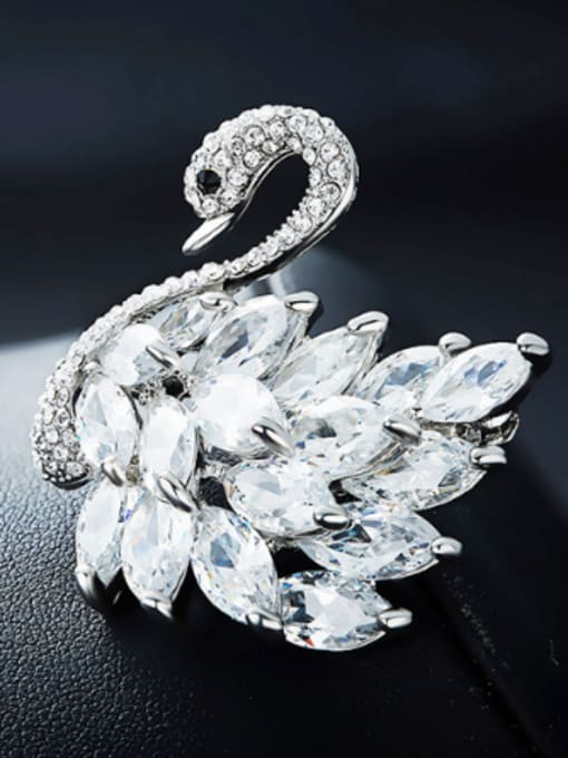 Maja Fashion Elegant Marquise Crystals Swan Brooch