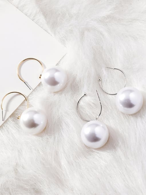 Girlhood Alloy With Gold Plated Trendy Round  Imitation Pearl Hoop Earrings(very big)