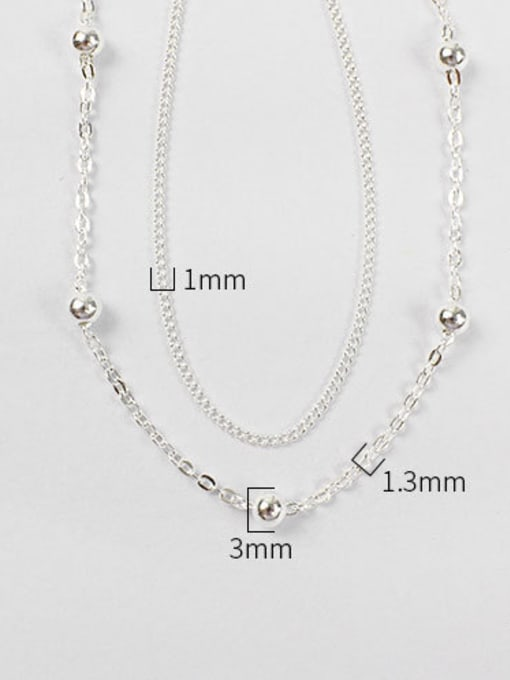 Arya Sterling Silver personality minimalist beads chain double Bracelet