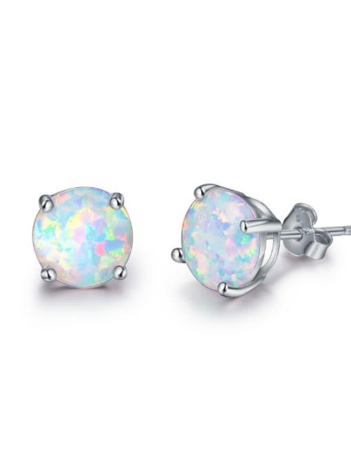 Chris Small Round Shaped Opal Fashion Stud Earrings