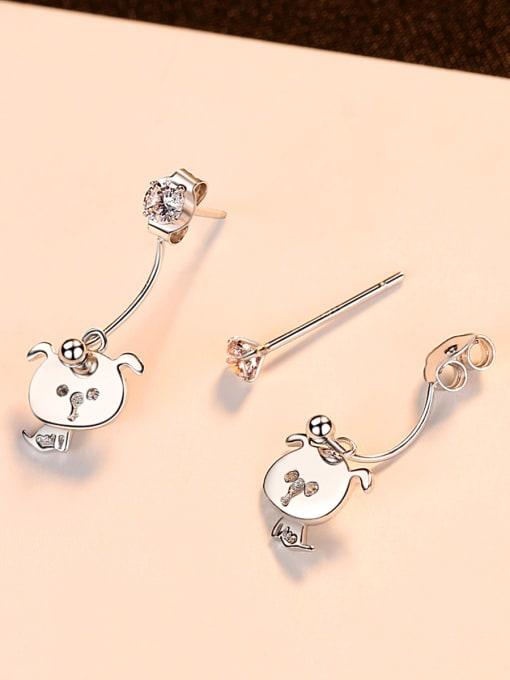 CCUI 925 Sterling Silver With Rhinestone  Cute Animal Stud Earrings