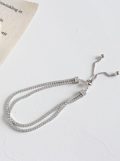 Arya Silver double-layer zircon adjustment beads bracelet