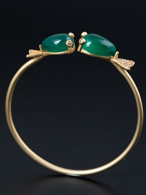Christian Ethnic style Double Fish Green Jades 925 Silver Bangle