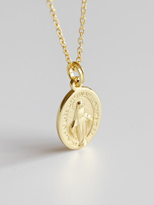 Ying 925 Sterling Silver With 18k Gold Plated Vintage Virgin Mary tag Oval Necklaces