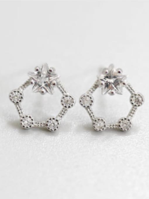Arya Fashion White Zirconias Hollow Five-pointed Star Silver Stud Earrings