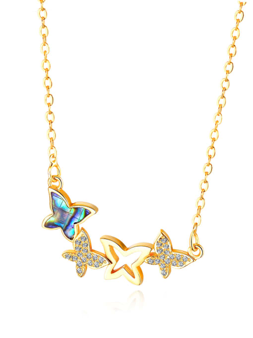Tong Copper With 18k Gold Plated Cute Butterfly Necklaces