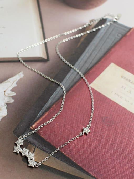 Arya Fashion Little Stars Tiny Zirconias Silver Necklace
