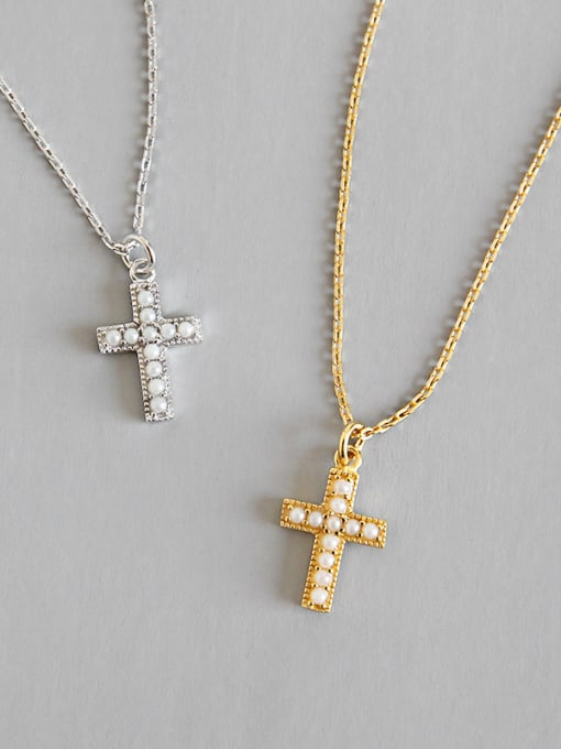 Dark Phoenix 925 Sterling Silver With 18k Gold Plated Delicate Cross Necklaces