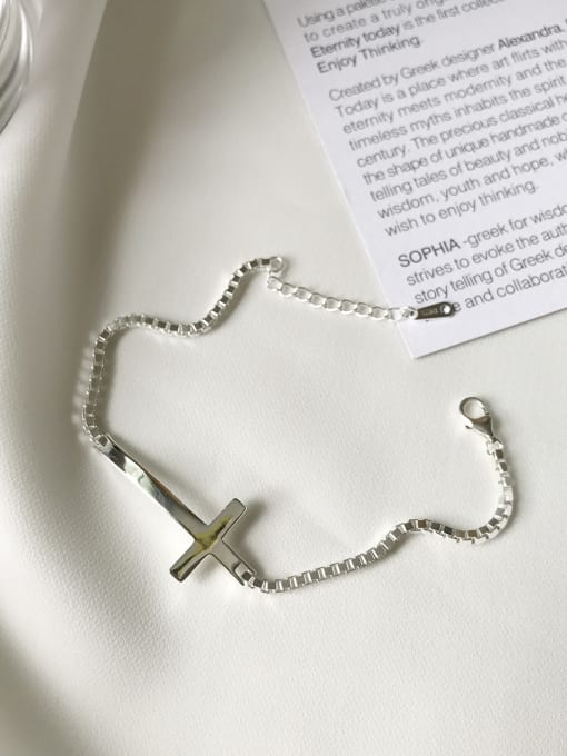 Jolie Silver 925 Sterling Silver With Platinum Plated Personality Cross Bracelets