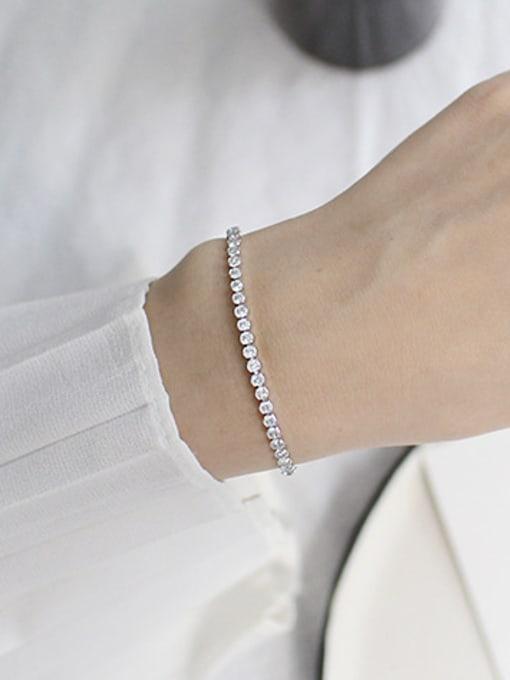 Arya Fashion Cubic Zircon-studded Beads Silver Adjustable Bracelet