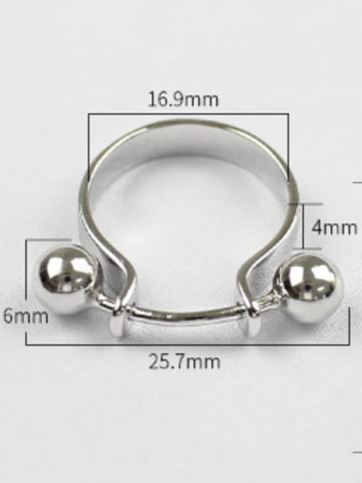Arya Personalized U-shaped Two Smooth Beads Silver Ring