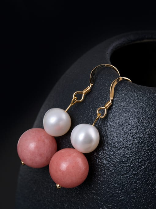 Christian Personalized Pink Stone Bead Freshwater Pearl 925 Silver Earrings