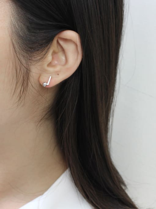 Arya Simple Little Bar Smooth Bead Silver Stud Earrings