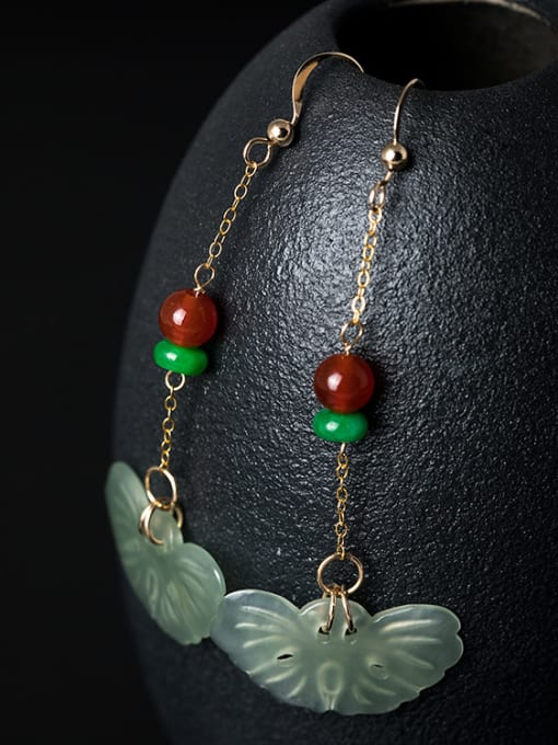 Christian Retro style 925 Silver Natural Jade Red Stone Earrings