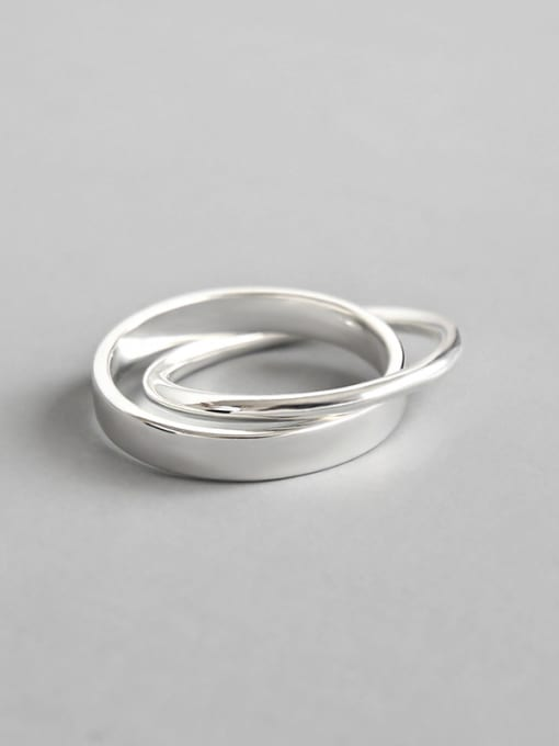 Dark Phoenix 925 Sterling Silver With Silver Plated Simplistic Round Rings