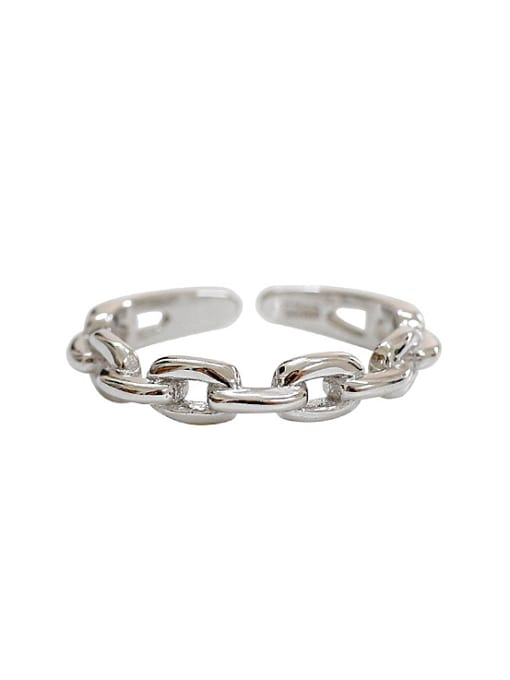 Arya Personalized Simple Chain Silver Opening Ring