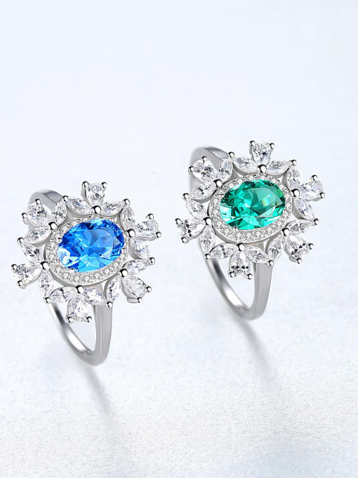 CCUI 925 Sterling Silver With Sapphire Luxury Flower Solitaire Rings