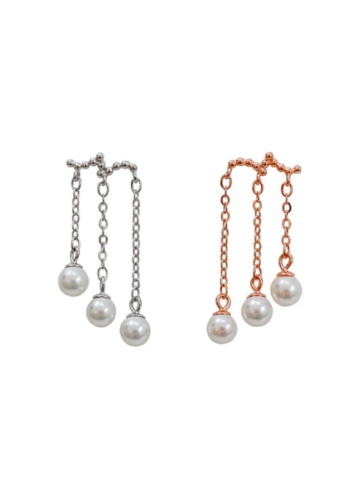 Arya Personalized Artificial Pearls Silver Stud Earrings