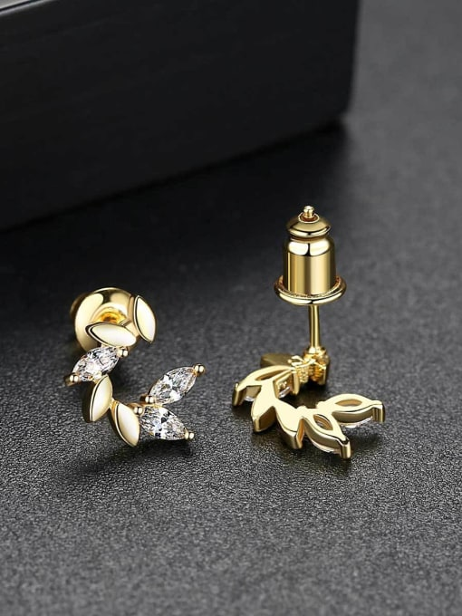 BLING SU Copper With 18k Gold Plated Delicate  Cubic Zirconia Stud Earrings