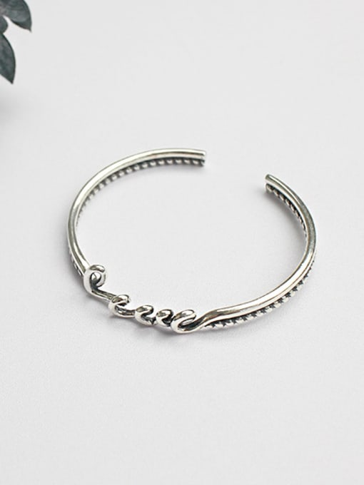 Arya Personalized LOVE Antique Silver Plated Opening Bangle
