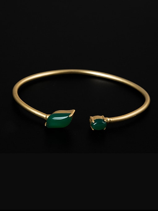 Christian Retro style Green Jade 925 Silver Opening Bangle