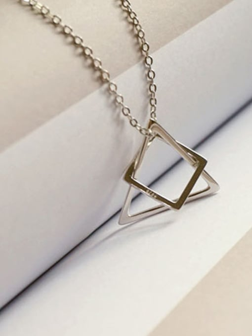 Arya Simple Hollow Triangle Square Combined Silver Women Necklace