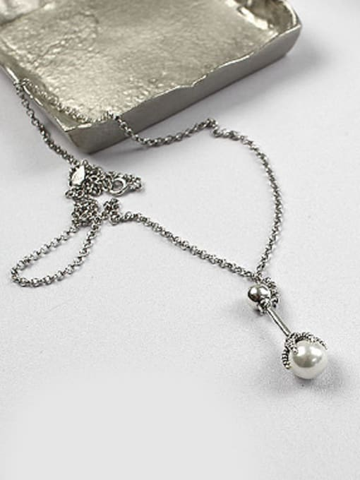 Arya Personalized Artificial Pearl Antique Silver Plated Silver Necklace