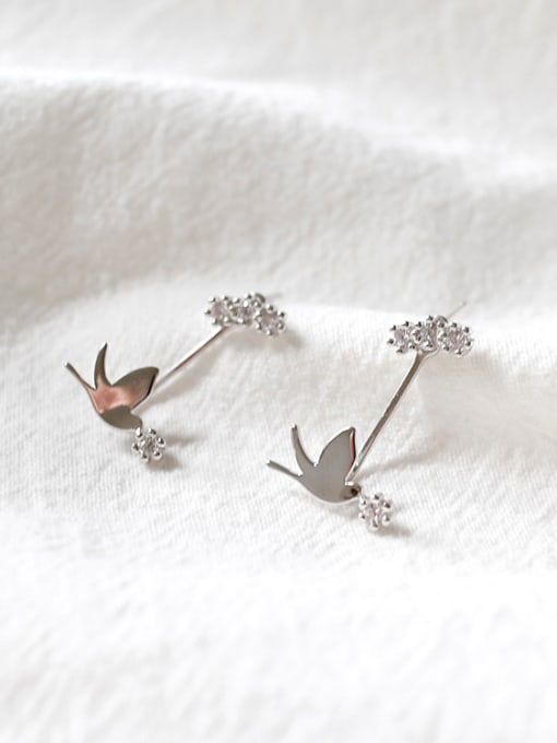 Arya Fashion Little Dove Cubic Zircon Silver Stud Earrings