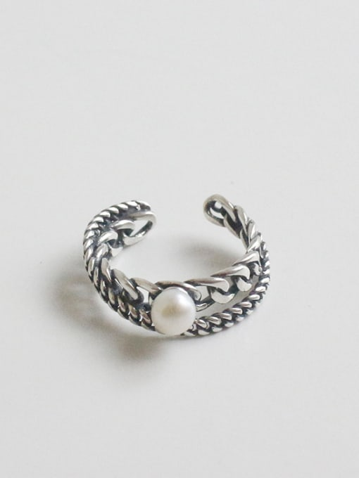 Arya Personalized Freshwater Pearl Two-band Silver Opening Ring