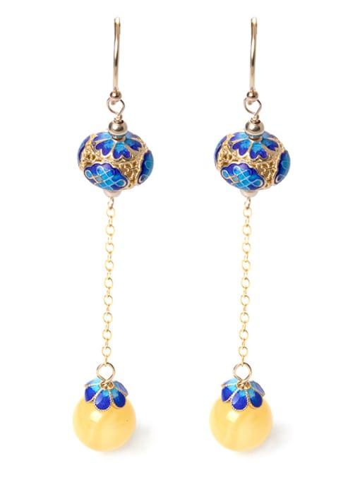 Christian Ethnic style 925 Silver Yellow Stone Bead Enamel Earrings