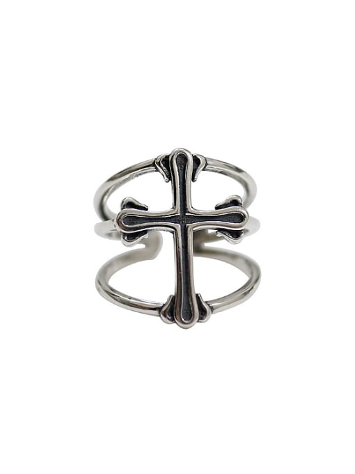 Arya Personalized Three-band Cross Silver Opening Ring