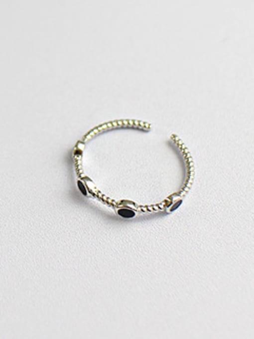 Arya Fashion Black Little Spots Silver Opening Ring