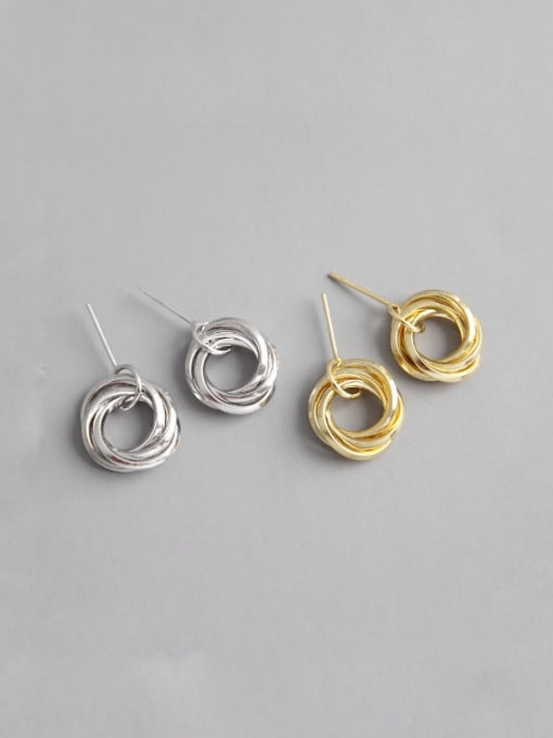 Ying 925 Sterling Silver With Platinum Plated Simplistic Multi-layer ring Stud Earrings