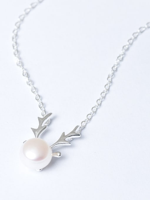 Christian Fashion Freshwater Pearl Deer Antler 925 Silver Necklace