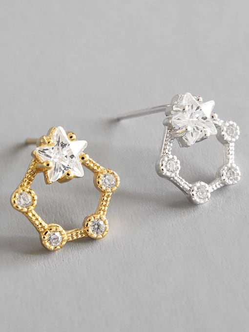 Dark Phoenix 925 Sterling Silver With 18k Gold Plated Cute Star Stud Earrings